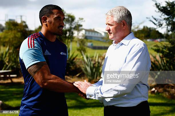 Jerome Kaino and New Zealand Rugby CEO Steve Tew following a Blues Super Rugby press conference at Unitec on March 31 2015 in Auckland New Zealand...