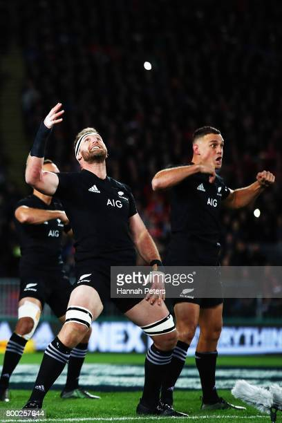 Jerome Kaino Kieran Read and Israel Dagg of the All Blacks perform the Haka prior to kickoff during the first test match between the New Zealand All...