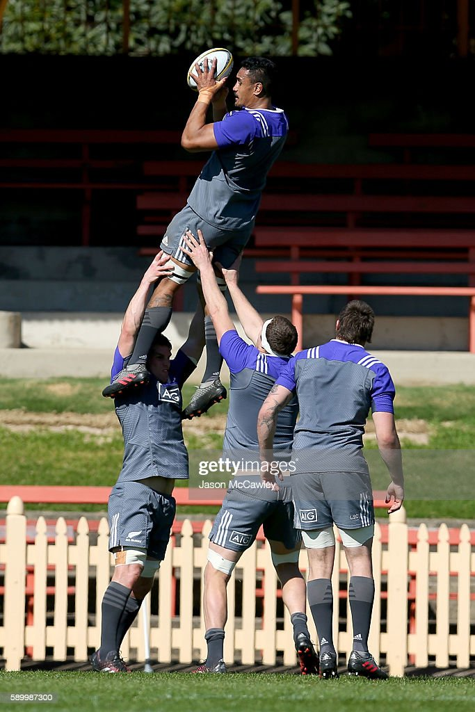 Jerome Kaino of the All Blacks during a New Zealand All Blacks training session at North Sydney Oval on August 16, 2016 in Sydney, Australia.