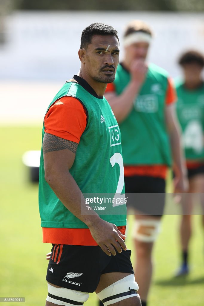Jerome Kaino of the All Blacks during a New Zealand All Blacks training session at QBE Stadium on September 12, 2017 in Auckland, New Zealand.