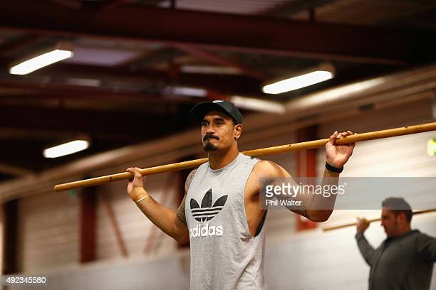 Jerome Kaino of the All Blacks during a New Zealand All Blacks gym session at Swansea University on October 12 2015 in Swansea United Kingdom