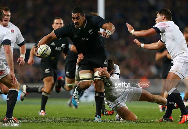 Jerome Kaino of the All Blacks looks to break through the England defense during the International Test Match between the New Zealand All Blacks and...