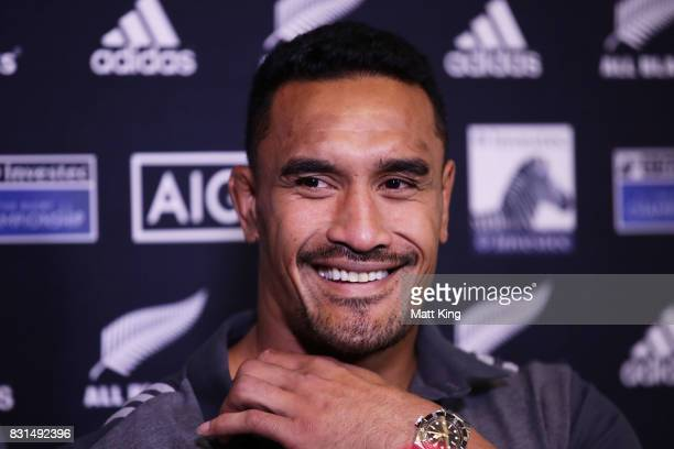 Jerome Kaino of the All Blacks speaks to the media during a New Zealand All Blacks media session at Intercontinental Double Bay on August 15 2017 in...