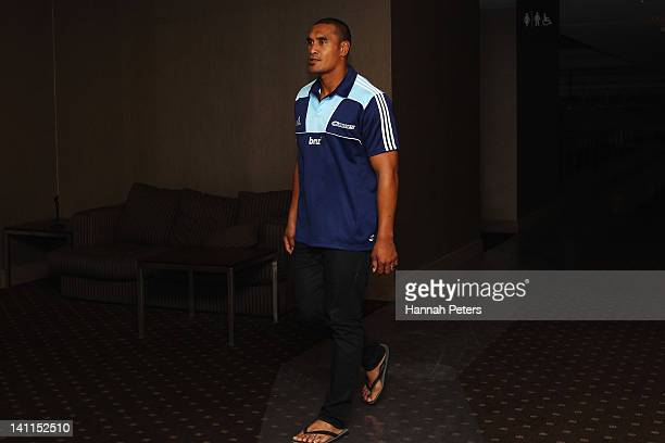 Jerome Kaino of the Blues arrives to a press conference during an Auckland Blues media session at Eden Park on March 12 2012 in Auckland New Zealand...