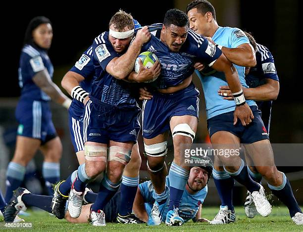 Jerome Kaino of the Blues charges forward during the round 11 Super Rugby match between the Blues and the Waratahs at Eden Park on April 25 2014 in...