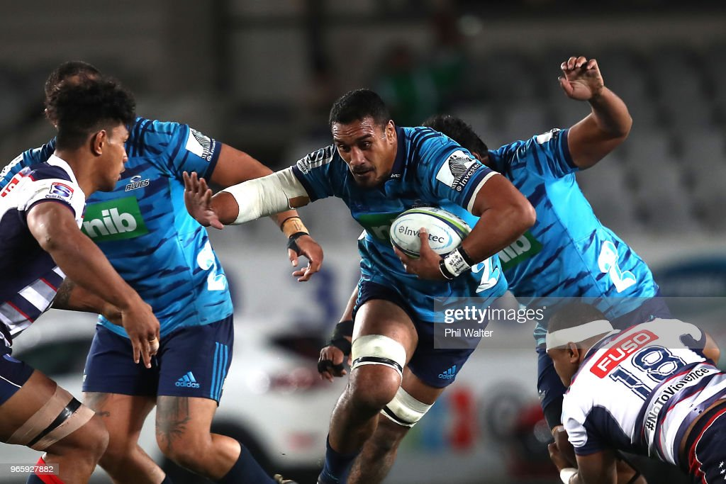 Jerome Kaino of the Blues is tackled during the round 16 Super Rugby match between the Blues and the Rebels at Eden Park on June 2, 2018 in Auckland, New Zealand.