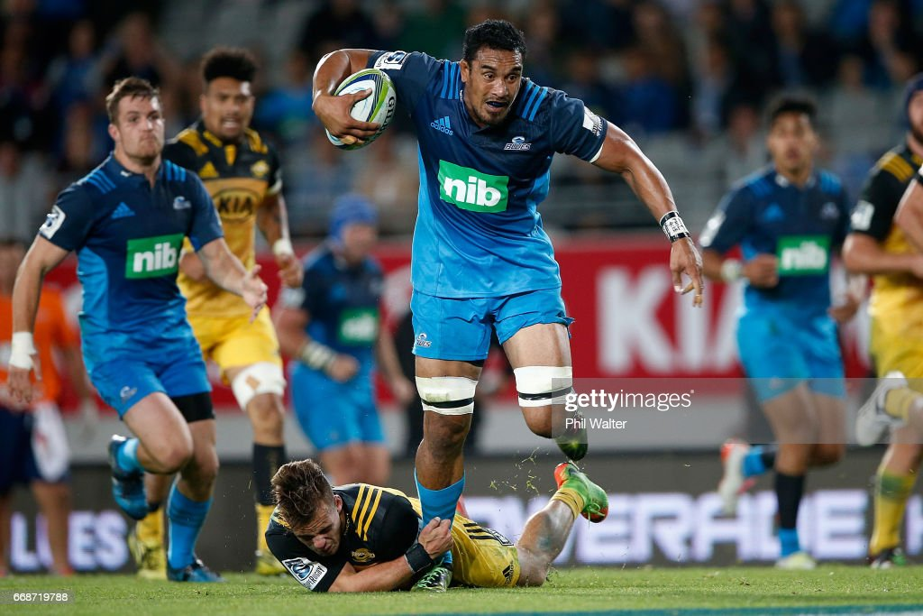 Jerome Kaino of the Blues is tackled during the round eight Super Rugby match between the Blues and the Hurricanes at Eden Park on April 15, 2017 in Auckland, New Zealand.