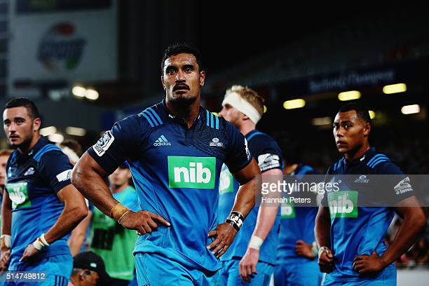 Jerome Kaino of the Blues looks on during the round three Super Rugby match between the Blues and the Hurricanes at Eden Park on March 11 2016 in...