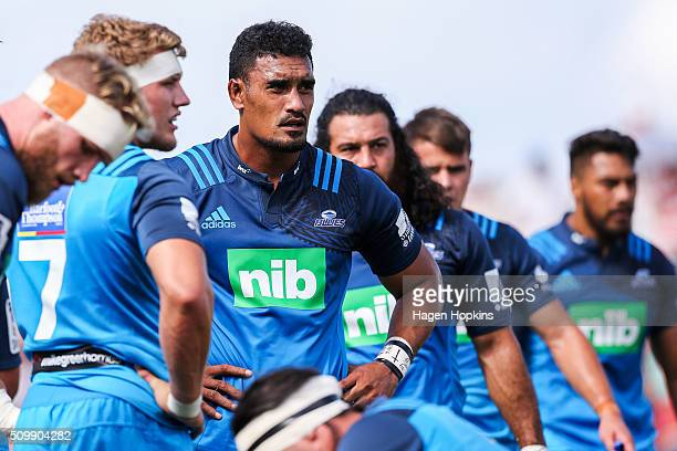 Jerome Kaino of the Blues looks on during the Super Rugby preseason match between the Blues and the Hurricanes at Eketahuna Rugby Club on February 13...