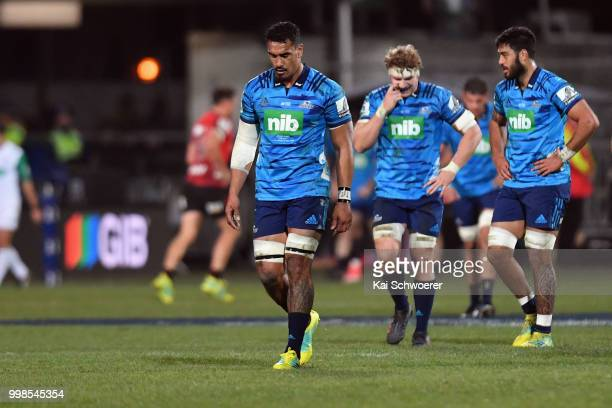 Jerome Kaino of the Blues reacts during the round 19 Super Rugby match between the Crusaders and the Blues at AMI Stadium on July 14 2018 in...