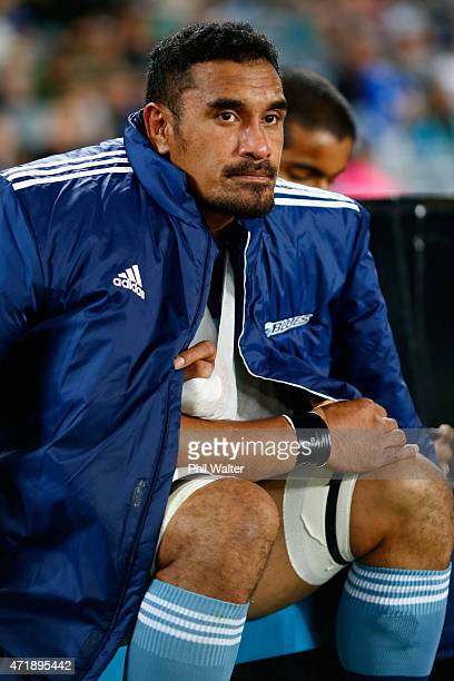 Jerome Kaino of the Blues sits injured on the bench during the round 12 Super Rugby match between the Blues and the Force at Eden Park on May 2 2015...