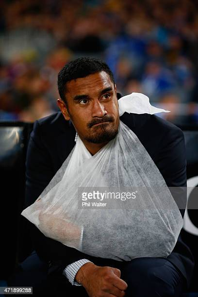 Jerome Kaino of the Blues sits injured on the bench during the round 12 Super Rugby match between the Blues and the Force at Eden Park on May 2, 2015...
