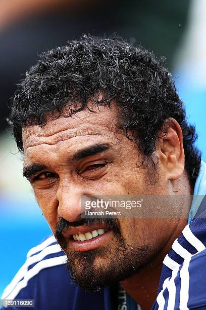 Jerome Kaino of the Blues sits on the bench after injuring his eye during the Super Rugby trial match between the Blues and the Highlanders at Unitec...