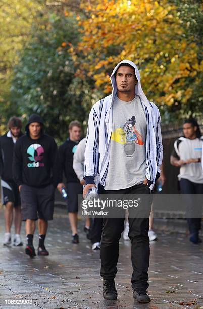 Jerome Kaino of the New Zealand All Blacks takes a walk around the St Stephens Green shopping area on November 17 2010 in Dublin