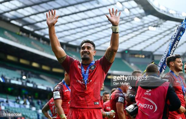 Jerome Kaino of Toulouse interacts with the crowd following the Heineken Champions Cup Final between La Rochelle and Toulouse at Twickenham Stadium...