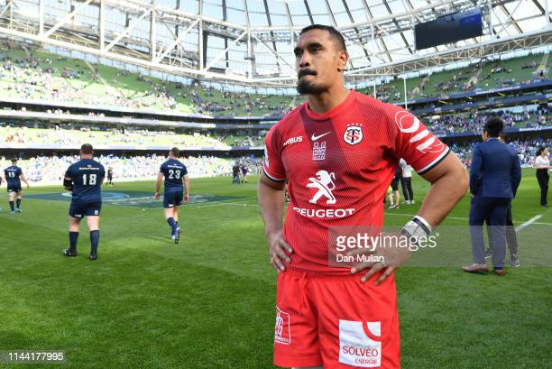 Jerome Kaino of Toulouse stands dejected following the final whistle during the Heineken Champions Cup Semi Final match between Leinster Rugby and...