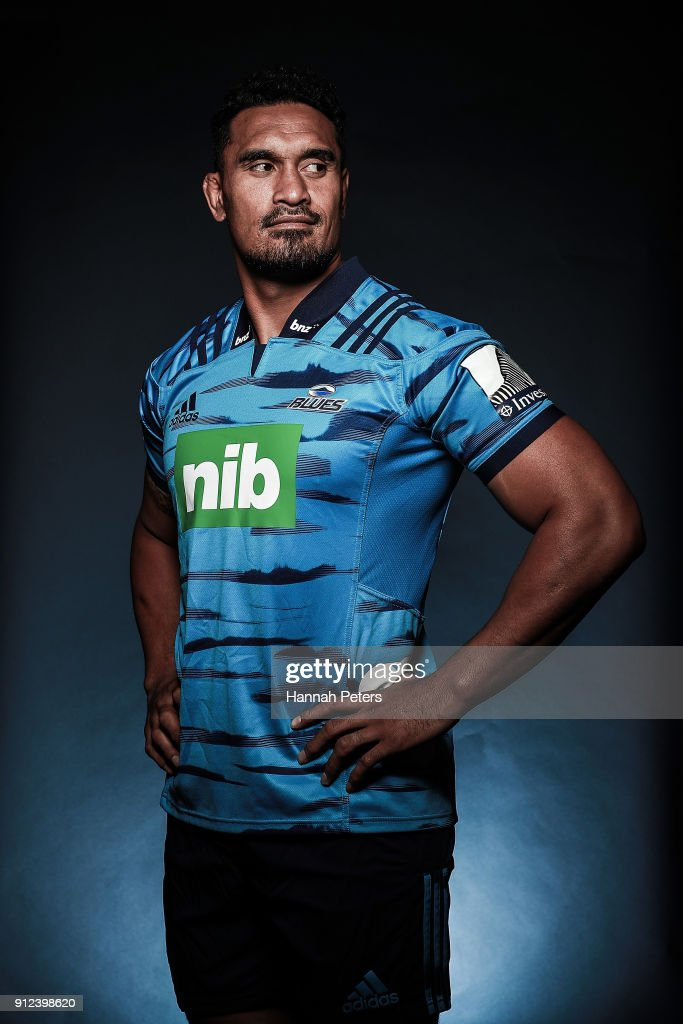 Jerome Kaino poses during the Blues Super Rugby headshots session on January 22, 2018 in Auckland, New Zealand.