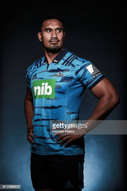 Jerome Kaino poses during the Blues Super Rugby headshots session on January 22 2018 in Auckland New Zealand