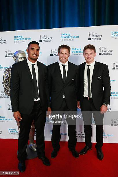 Jerome Kaino Richie McCaw and Beauden Barrett of the All Blacks pose before the 2016 Halberg Awards at Vector Arena on February 18 2016 in Auckland...