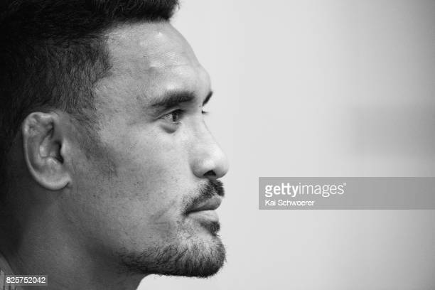 Jerome Kaino speaks to the media during a New Zealand All Blacks press conference on August 3 2017 in Christchurch New Zealand