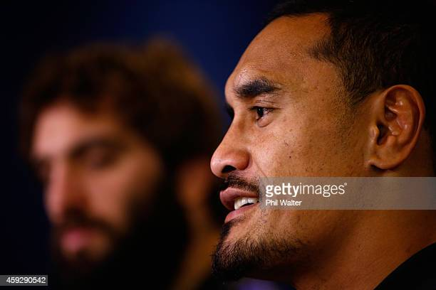 Jerome Kaino speaks to the media during the New Zealand All Blacks media session at the Hilton Hotel on November 20 2014 in Cardiff Wales