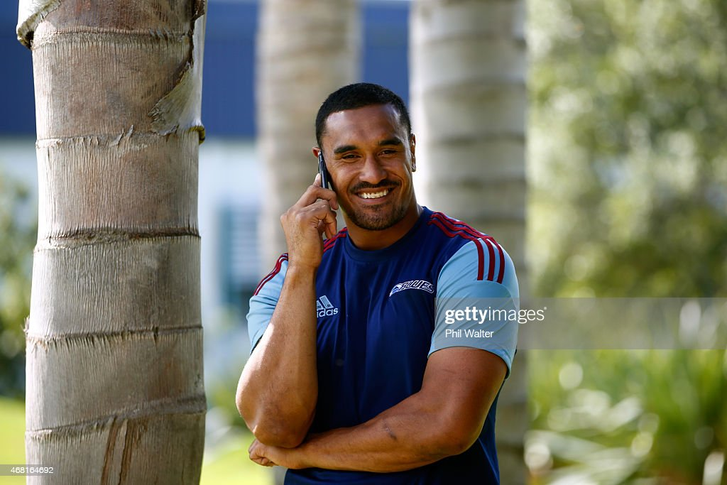 Jerome Kaino takes a phone call after a Blues Super Rugby press conference at Unitec on March 31, 2015 in Auckland, New Zealand. Jerome Kaino today announced that he has committed himself for the next three years to New Zealand Rugby, the Blues and Auckland Rugby.