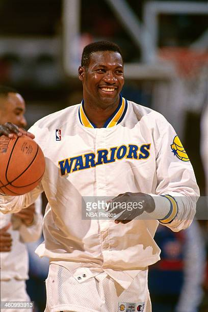 Jerome Kersey of the Golden State Warriors smiles during a game played circa 1996 at OaklandAlameda County Coliseum in Oakland California NOTE TO...