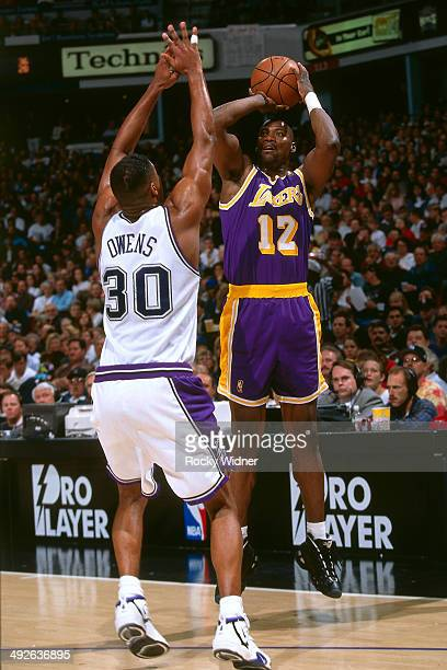Jerome Kersey of the Los Angeles Lakers shoots against the Sacramento Kings circa 1997 at Arco Arena in Sacramento California NOTE TO USER User...