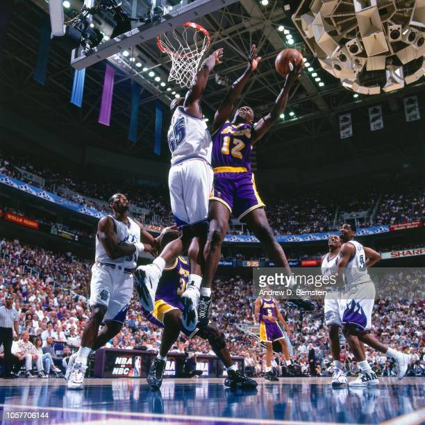 Jerome Kersey of the Los Angeles Lakers shoots during Game Two of the Western Conference Semifinals as part of the 1997 NBA Playoffs on May 4 1997 at...
