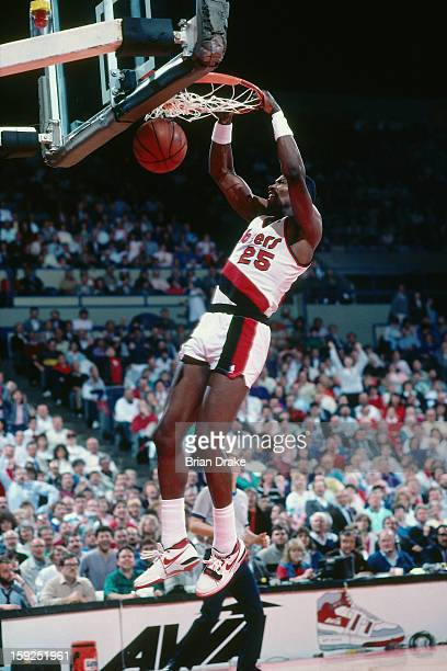Jerome Kersey of the Portland Trail Blazers dunks during a game played at the Veterans Memorial Coliseum in Portland Oregon circa 1991 NOTE TO USER...
