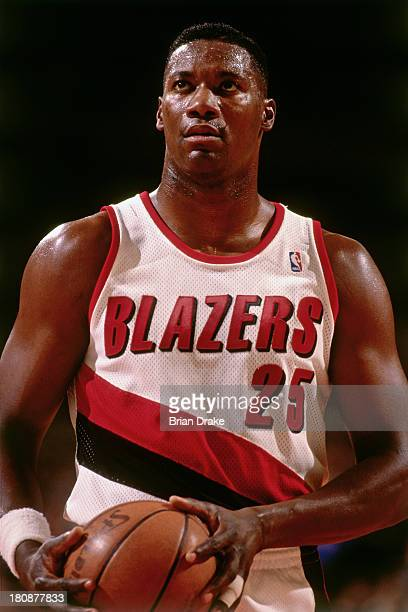 Jerome Kersey of the Portland Trail Blazers shoots a free throw during a game played in 1992 at the Veterans Memorial Coliseum in Portland Oregon...