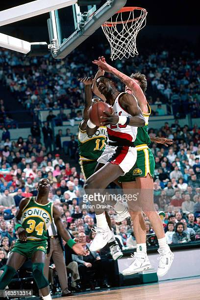Jerome Kersey of the Portland Trail Blazers shoots against the Seattle Supersonics during a game played circa 1989 at the Veterans Memorial Coliseum...