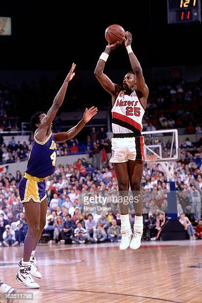 Jerome Kersey of the Portland Trail Blazers shoots against the Los Angeles Lakers during a game played circa 1989 at the Veterans Memorial Coliseum...