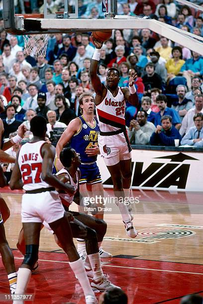 Jerome Kersey of the Portland Trailblazers shoots against the Utah Jazz at the Veterans Memorial Coliseum in Portland Oregon circa 1988 NOTE TO USER...