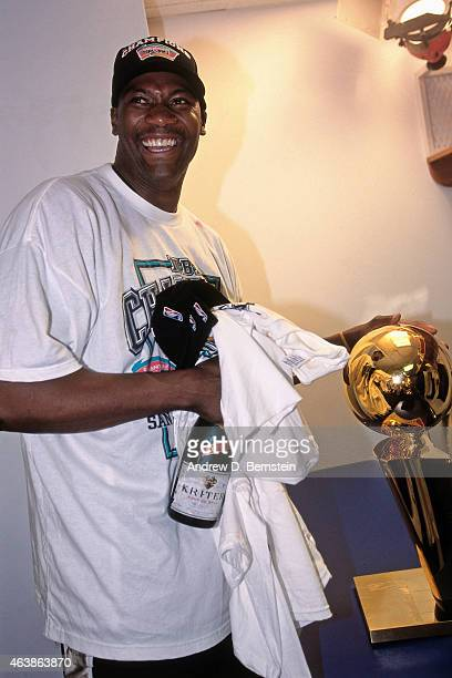 Jerome Kersey of the San Antonio Spurs celebrates following Game Five of the 1999 NBA Finals against the New York Knicks on June 25 1999 at Madison...