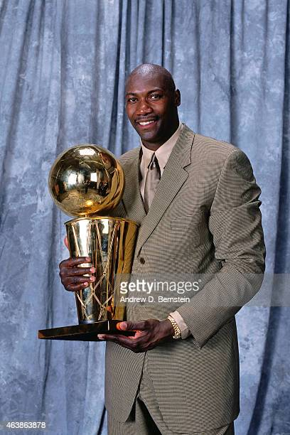 Jerome Kersey of the San Antonio Spurs poses for a portrait following Game Five of the 1999 NBA Finals against the New York Knicks on June 25 1999 at...