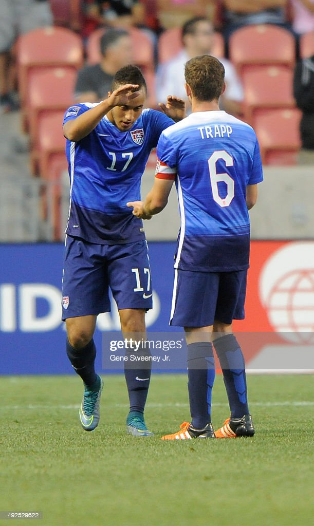 Jerome Kiesewetter #17 of the United States is congratulated by teammate Wil Trapp #6 after his penalty kick goal in the 2nd half of their game against Canada during the third place CONCACAF Olympic Qualifying match at Rio Tinto Stadium on October 13, 2015 in Sandy, Utah. The United States beat Canada 2-0.