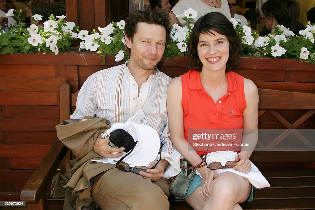 Jerome Kircher and Irene Jacob visit Roland Garros village during the 2005 French Open tennis.