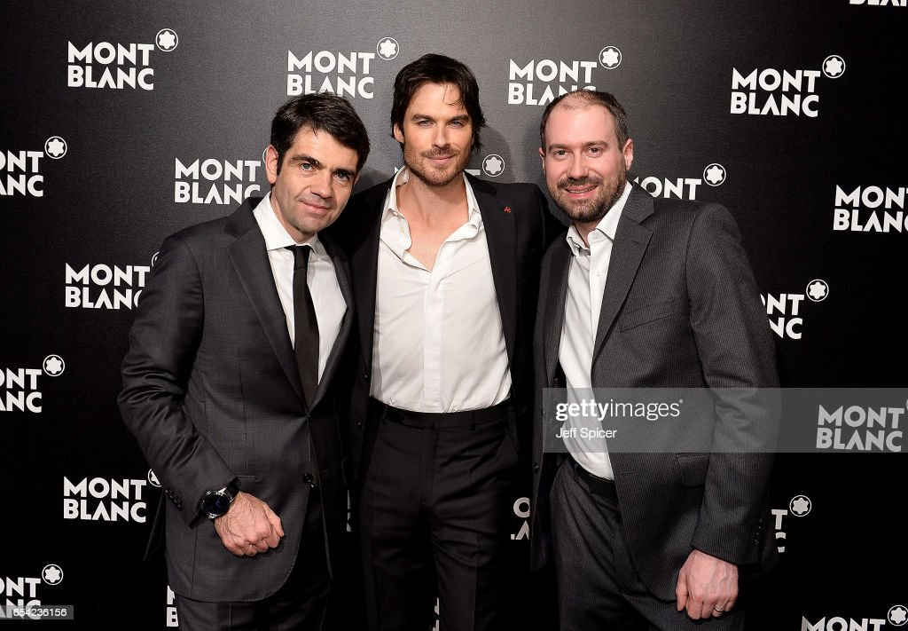 Jerome Lambert, Ian Sommerholder and David Singleton at the Montblanc Summit launch event at The Ledenhall Building on March 16, 2017 in London, England.
