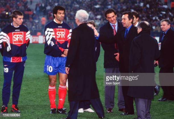 Jerome LEROY RAI RICARDO head coach Michel DENISOT President of PSG Lionel JOSPIN first minister and Noel Le GRAET president of FFF during the French...