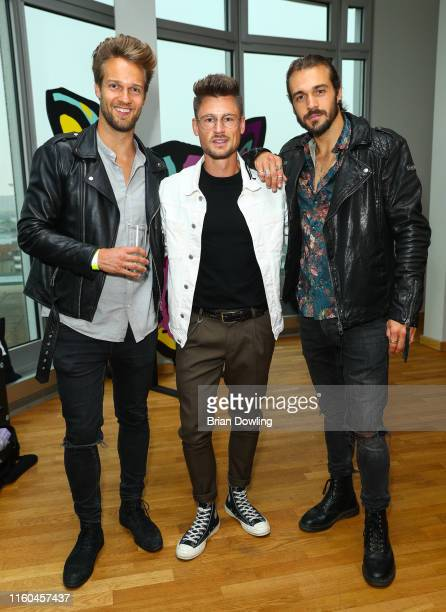 Jerome Mathew Andre Hellmundt and Kolja Czudnochowski attend the Paul Ripke Rooftop Event during the Berlin Fashion Week Spring/Summer 2020 at ewerk...