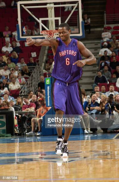 Jerome Moiso of the Toronto Raptors is seen on the court during the game against the Orlando Magic at TD Waterhouse Centre on December 1 2003 in...
