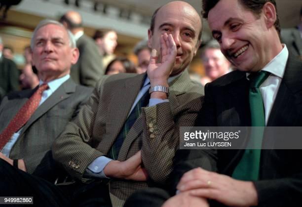 Jerome Monod Alain Juppe and Nicolas Sarkozy