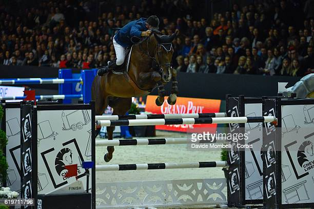Jerome of France rides Quartz Rouge during the Grand Prix EQUITA MASTERS Longines FEI World Cup at in the EQUITA Lyon
