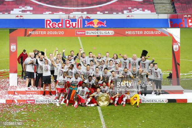 Jerome Onguene of Salzburg celebrates with his teammates after scoring prior the tipico Bundesliga match between Red Bull Salzburg and SK Sturm Graz...