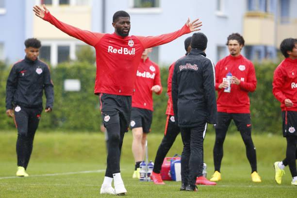 Jerome Onguene of Salzburg gestures during the first RB Salzburg team trainings session at Trainingszentrum Taxham on May 15 2020 in Salzburg Austria