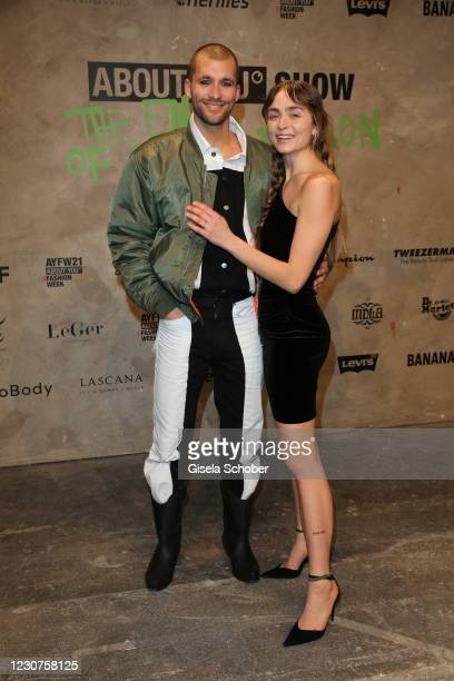 Jerome Palaz and Sofia Tsakiridou during the ABOUT YOU fashion week, AYFW, show production at Kraftwerk on January 22, 2021 in Berlin, Germany.