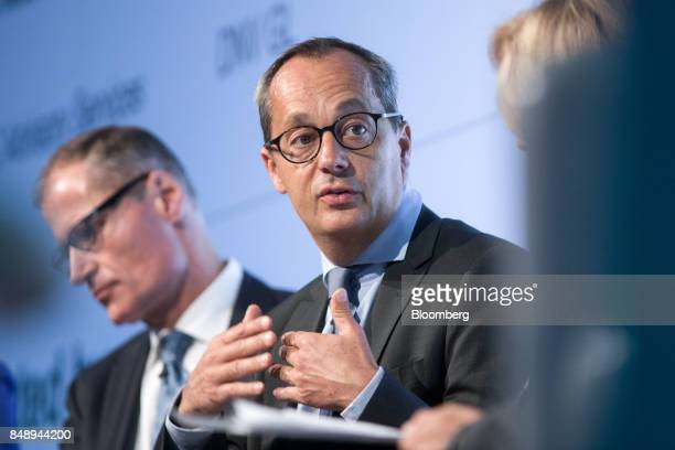 """Jerome Pecresse, chief executive officer of renewable energy at GE Captial, speaks at the Bloomberg New Energy Finance """"Future Of Energy"""" summit in..."""