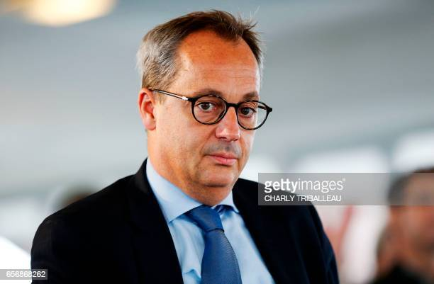 Jerome Pecresse, General Electric Renewable Energy's CEO for France attends a ceremony to set up the first foundation stone of the LM Wind...