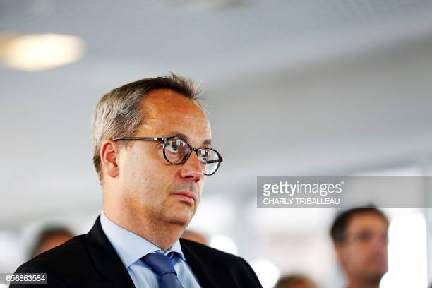 Jerome Pecresse, General Electric Renewable Energy's CEO for France, looks on on March 23, 2017 during the laying of the first foundation stone of...